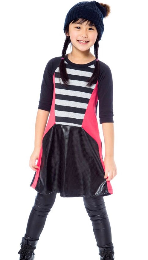 Deux par Deux Stripe Dress with Faux Leather SIZE 12