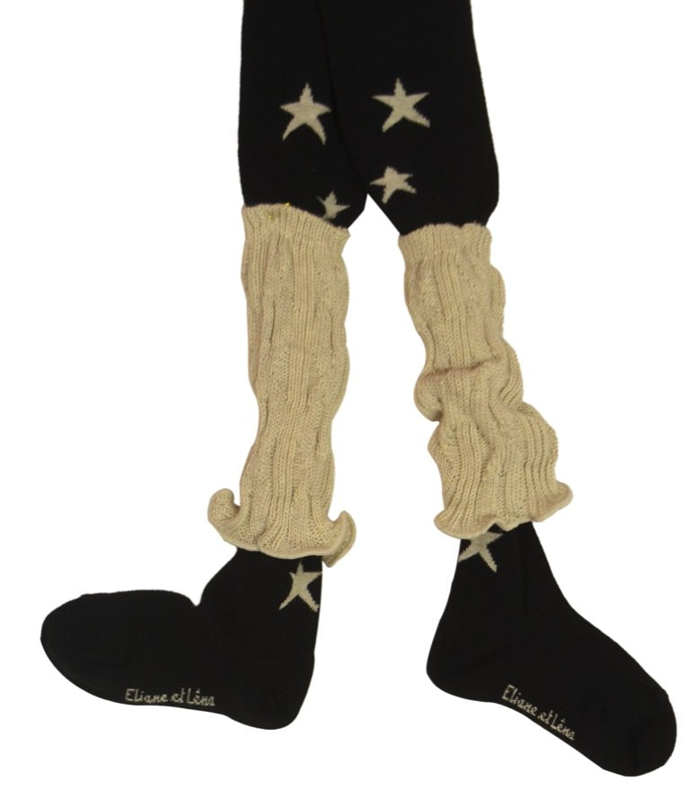 "Eliane et Lena ""Filante"" Black Tights w/REMOVABLE Ivory Leg Warmers *FINAL SALE*"