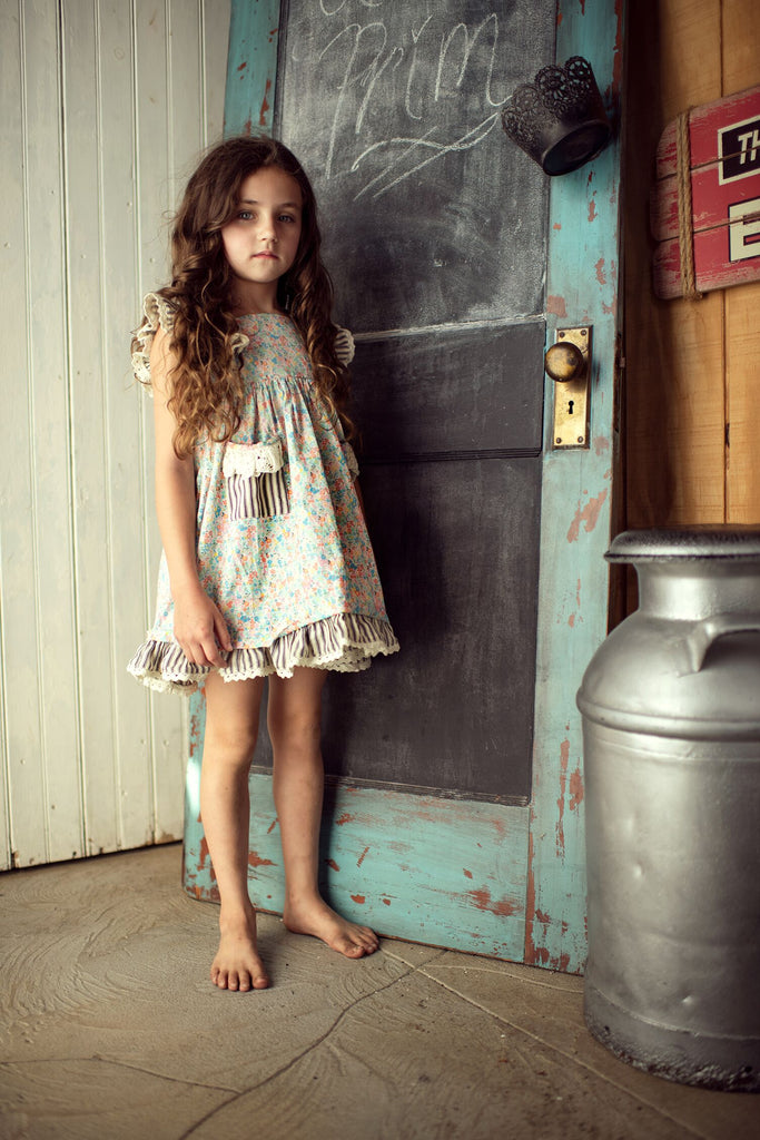 Little Prim Ticking & Floral Alice Dress