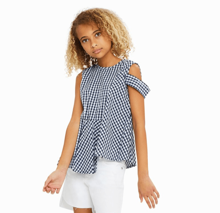 Habitual Navy Check Asymmetrical Top