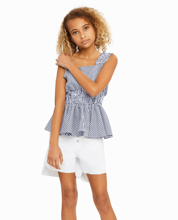 Habitual Stripe & Smocked Navy Top