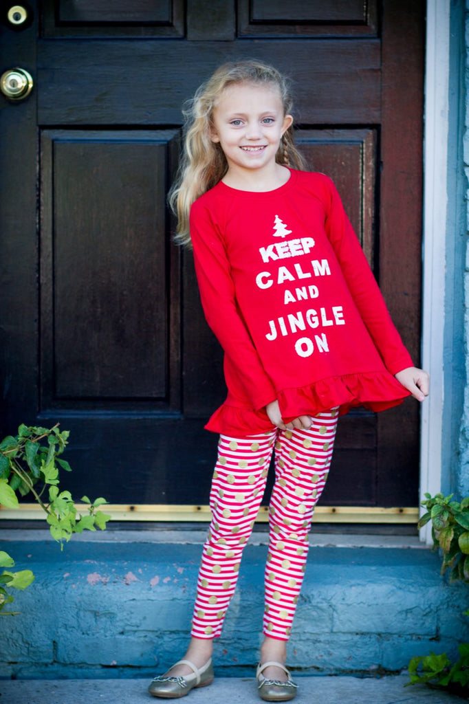 Haven Girl Red Keep Calm Tunic  SIZE 4