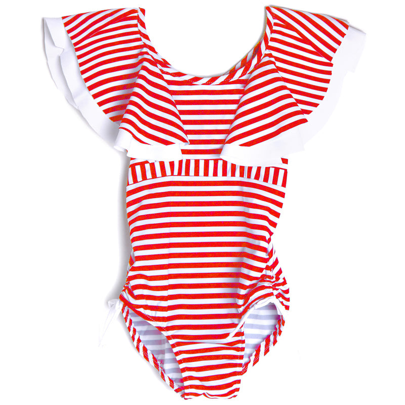 Isobella & Chloe Red Stripe Flutter Tank Swimsuit