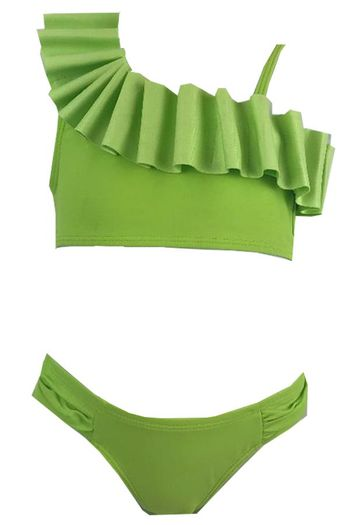Kate Mack Lime Green Ruffle Bikini Swimsuit