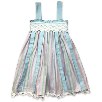 Little Prim Aqua Ribbon Charleston Dress