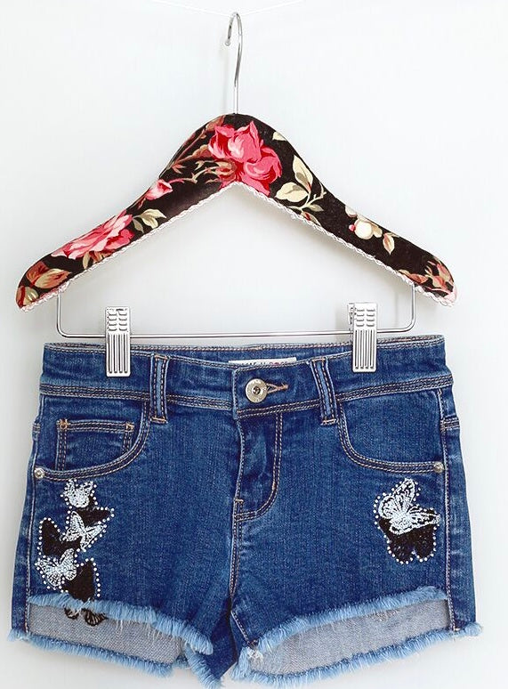 Mae Li Rose Butterfly Embroidered Shorts