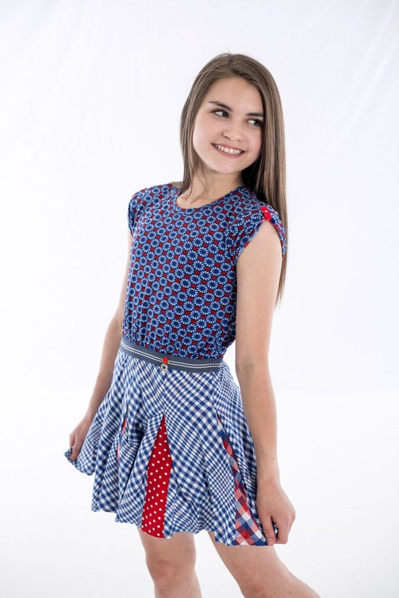 Mim Pi Blue & Red Cap Sleeve Dress *FINAL SALE* SOLD OUT