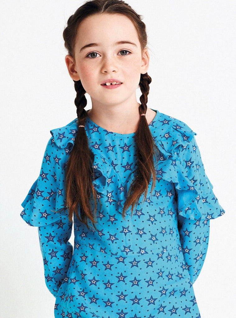 Mim Pi Blue Star Dress with Ruffle Bodice