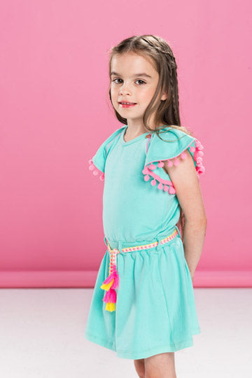 Mim Pi Green & Pink Pom Pom Dress