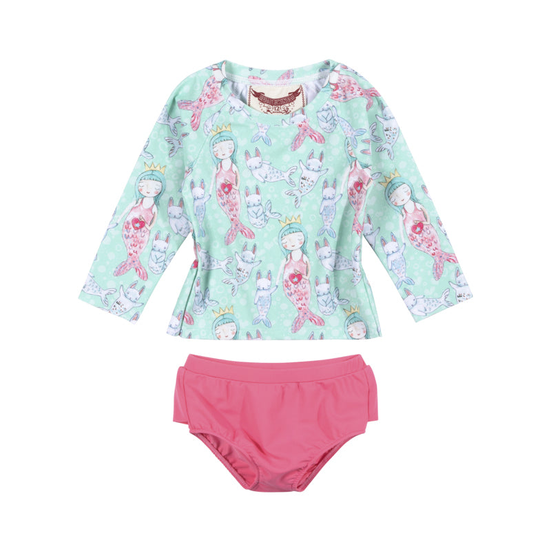 Paper Wings Little Mermaid Rash Guard Set