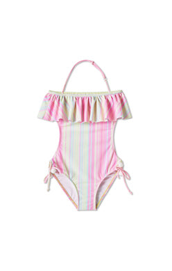 Stella Cove Striped Open Back Swimsuit