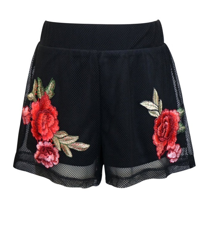 Truly Me Black Mesh Rose Short