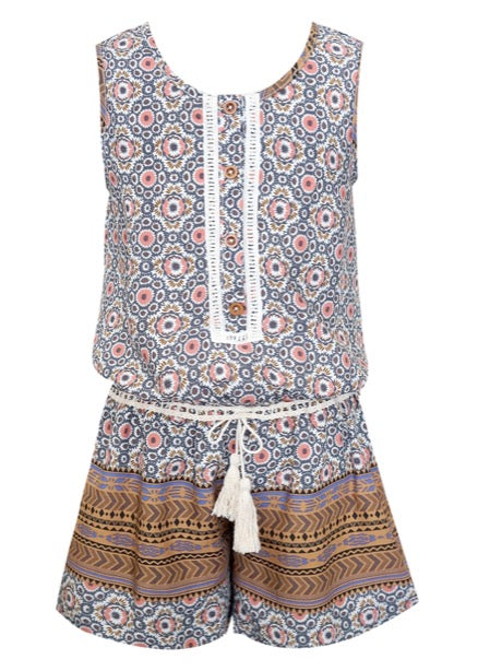 Truly Me Border Print Romper w/ Button Detail OUT OF STOCK