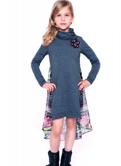 Truly Me Charcoal Grey Turtleneck TWEEN Dress w/Chiffon Longer Back *FINAL SALE* SOLD OUT