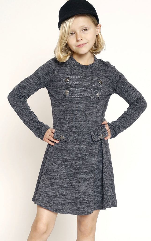 Truly Me Gray Knit Military Dress