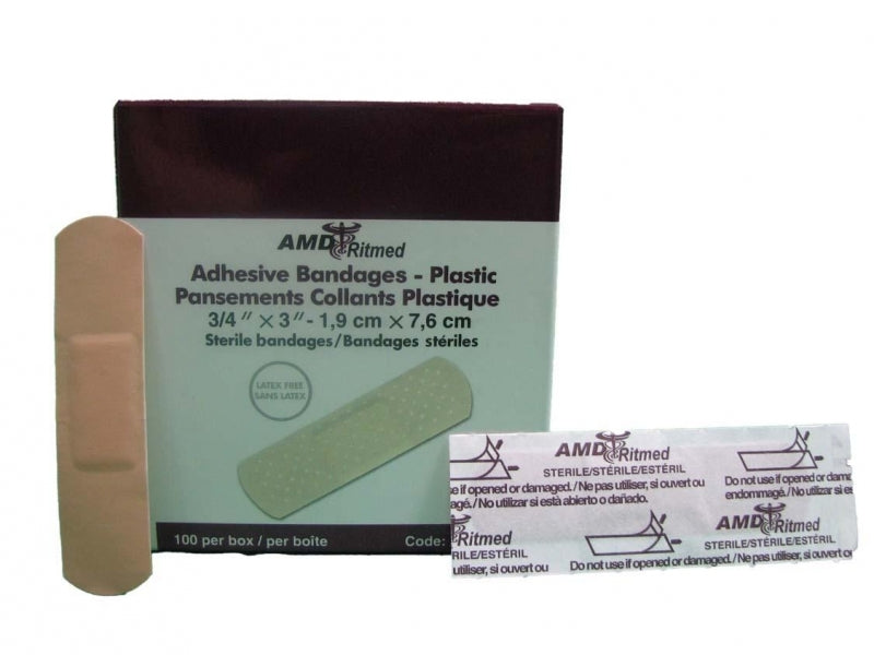 Adhesive Bandage, Plastic, Strip (19Mm X 76 Mm) - 100/Box