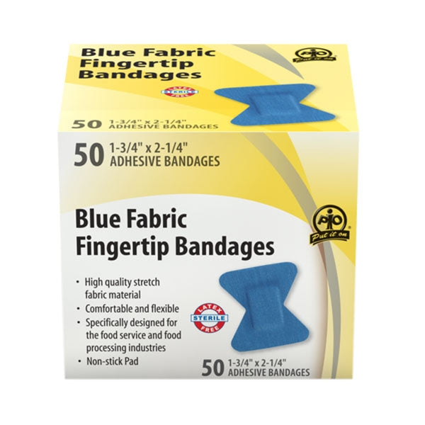 Adhesive Bandage, Blue Fabric, Fingertip - 50/Box