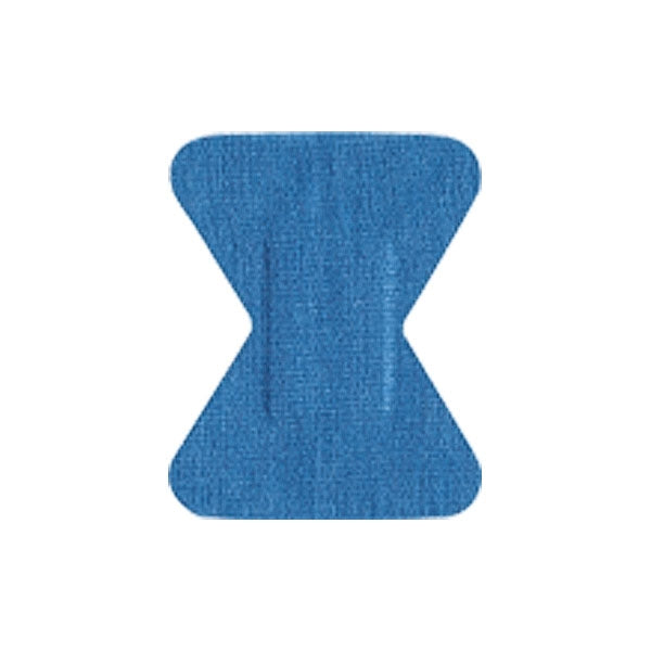 "Adhesive Blue Fabric Bandage, Fingertip (1.75"" x 2"") - 100/ Pack"