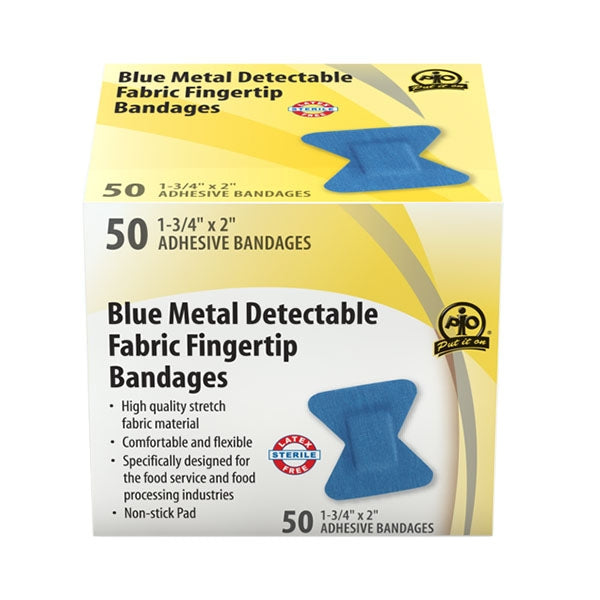 Adhesive Bandage, Metal Detectable, Blue Fabric, Fingertip - 50/Box