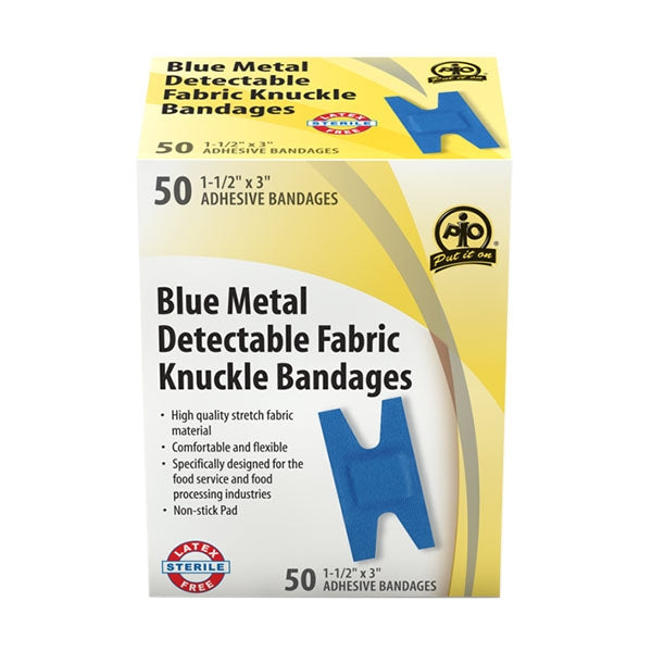 Adhesive Bandage, Metal Detectable, Blue Fabric, Knuckle - 50/Box