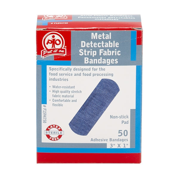 "Adhesive Bandage, Metal Detectable, Blue Fabric, Strip (1"" X 3"") - 50/Box"