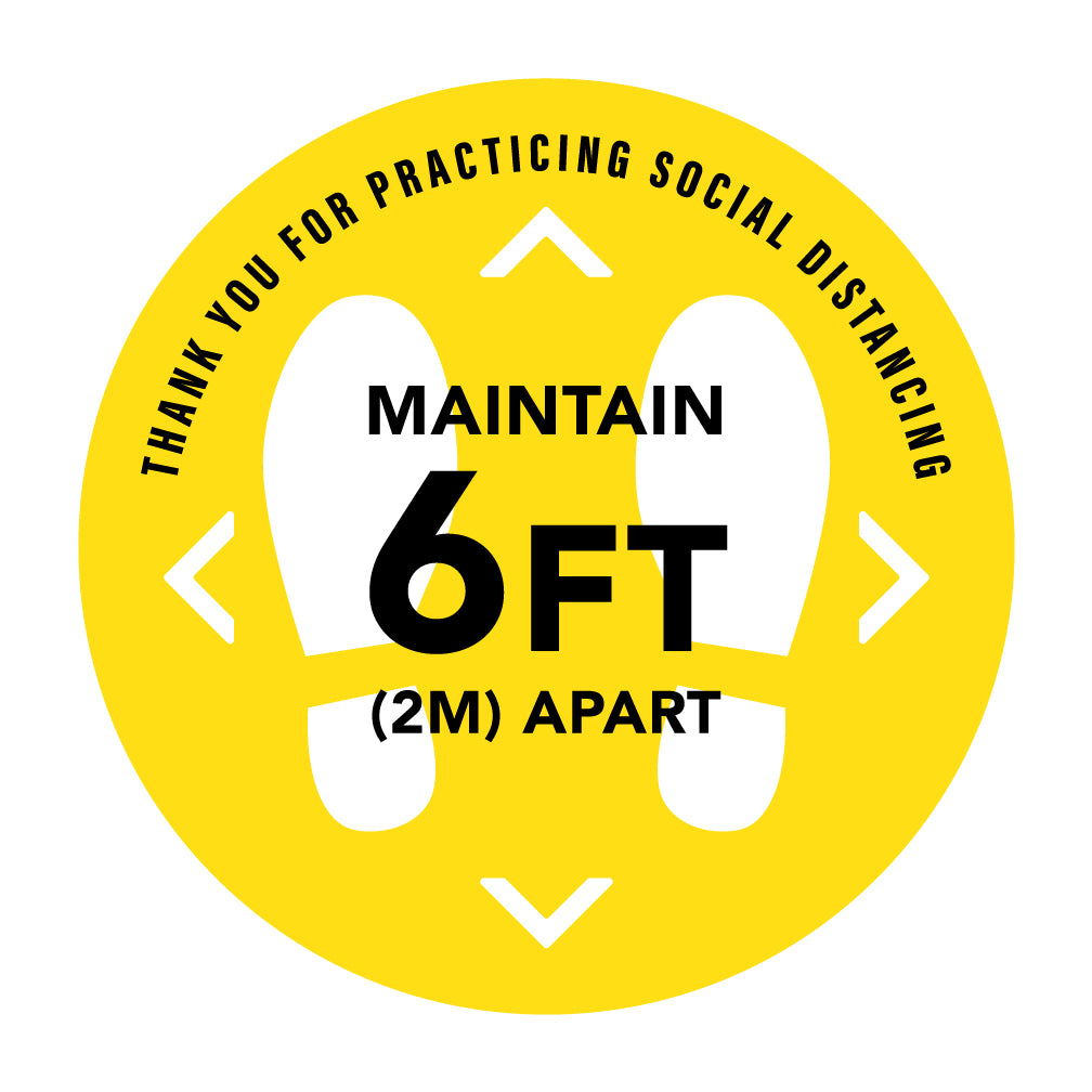Social Distance Floor Decal - 10/ Pack