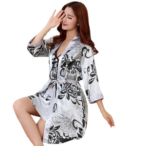 Sexy Print Female Robe Set