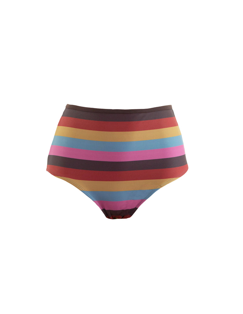 HIGH WAIST BOTTOM - SUNSET STRIPES