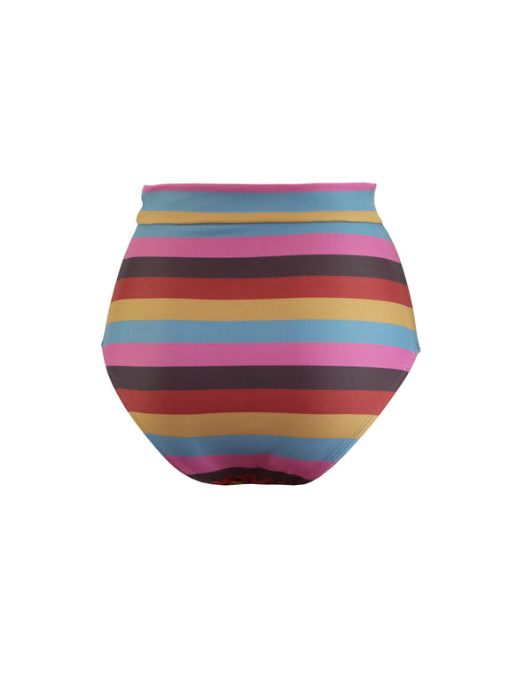 HIGH WAIST OBI BOTTOM - SUNSET STRIPES