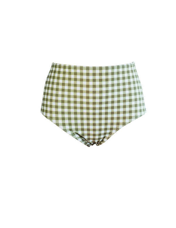 HIGH WAIST BOTTOM - Gingham-Olive