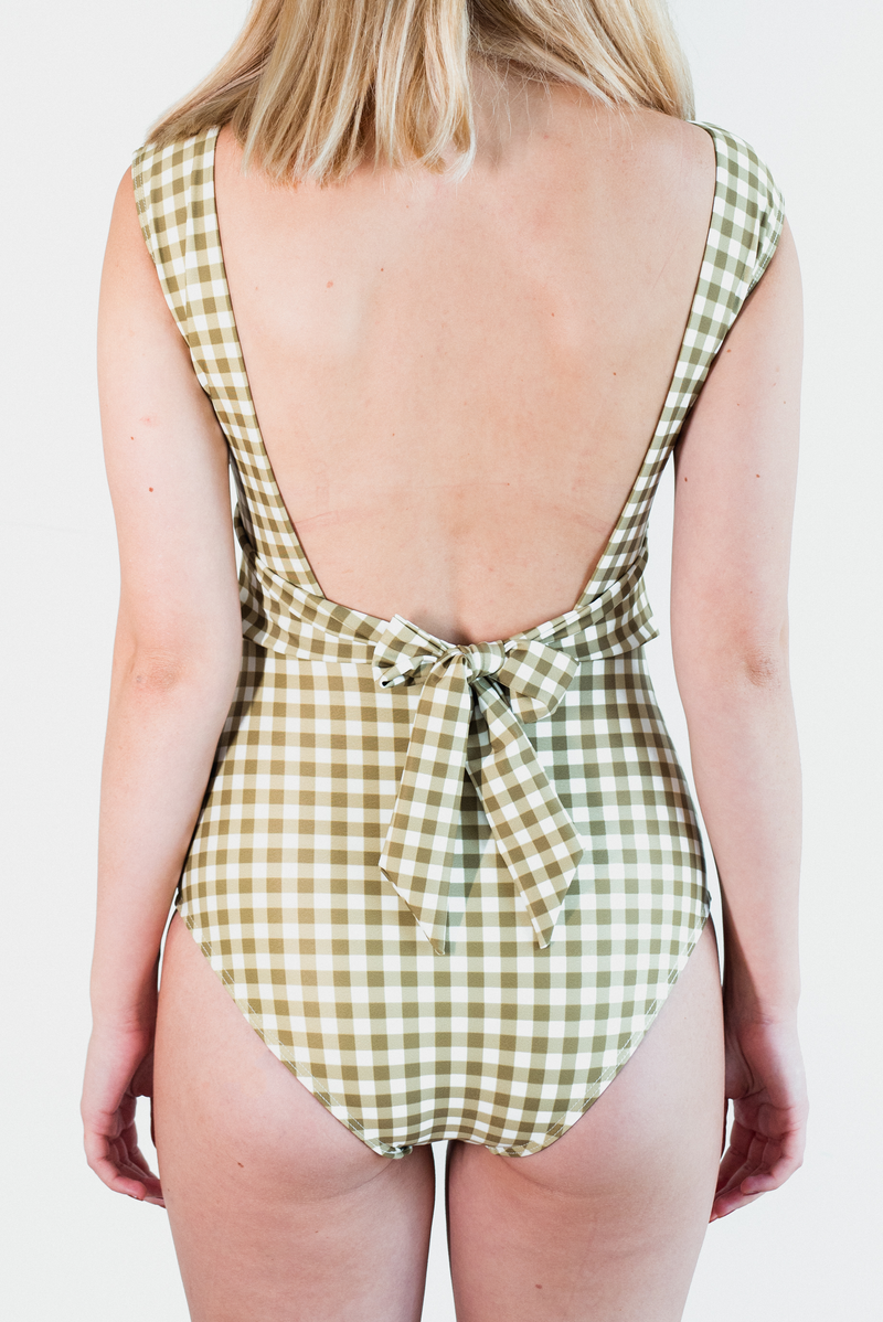Stella One Piece - Gingham Olive