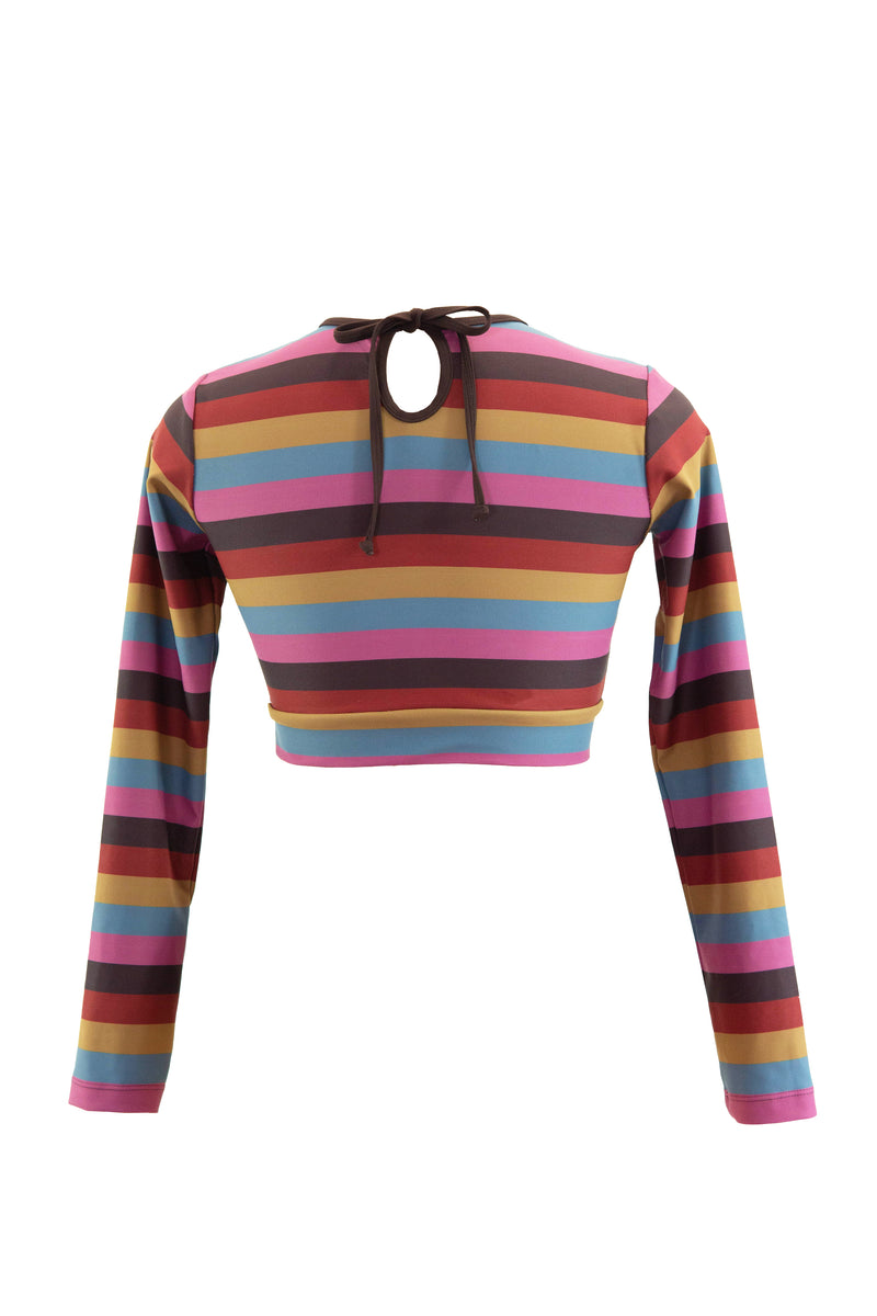 Cropped Long Sleeve Top - Sunset Stripes