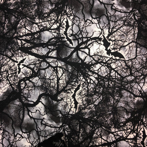 Mask - Black Bats and Trees on White