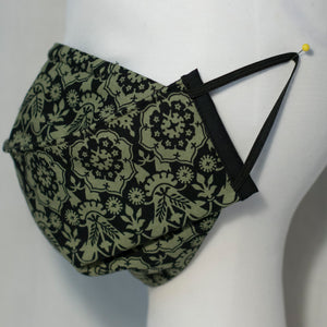 Mask - Black Victorian Motif on Green Chartreuse