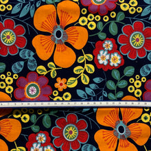 Load image into Gallery viewer, Mask - Orange Flowers and Leaves on Dark Blue
