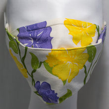 Load image into Gallery viewer, Mask - Purple and Yellow Hibiscus on Ecru