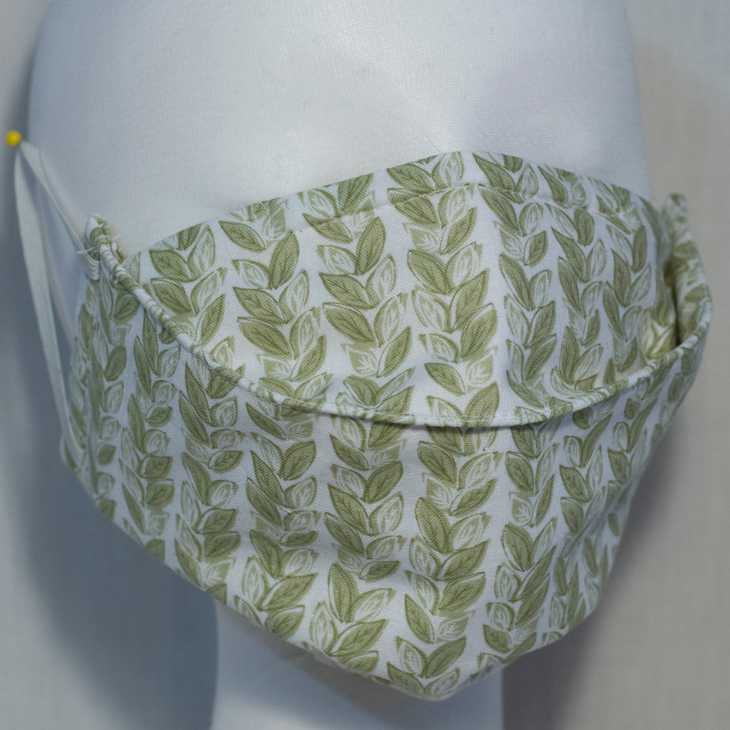 Mask - Olive Green Leaves on White