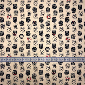 Mask - Indigo Japanese Owls on Ecru