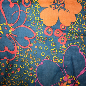 Mask - Vintage Orange Floral on Dark Blue