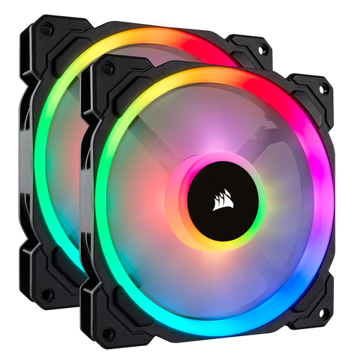 Corsair LL140 RGB 140mm Dual Light Loop RGB LED PWM Fan — 2 Fan Pack with Lighting Node PRO