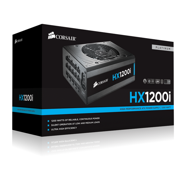 Corsair HXi Series™ HX1200i High-Performance ATX Power Supply — 1200 Watt 80 Plus® PLATINUM Certified
