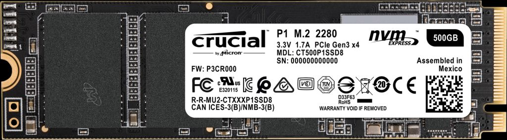Crucial P1 500GB 3D NAND NVMe PCIe M.2 SSD