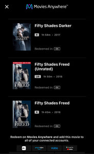 Fifty Shades Trilogy: Rated and Unrated Versions (2015-2017) Vudu or Movies Anywhere 4K code