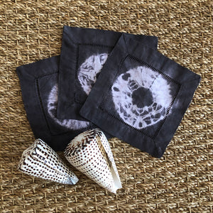 Hand-dyed Black Shibori Cocktail Napkin Set