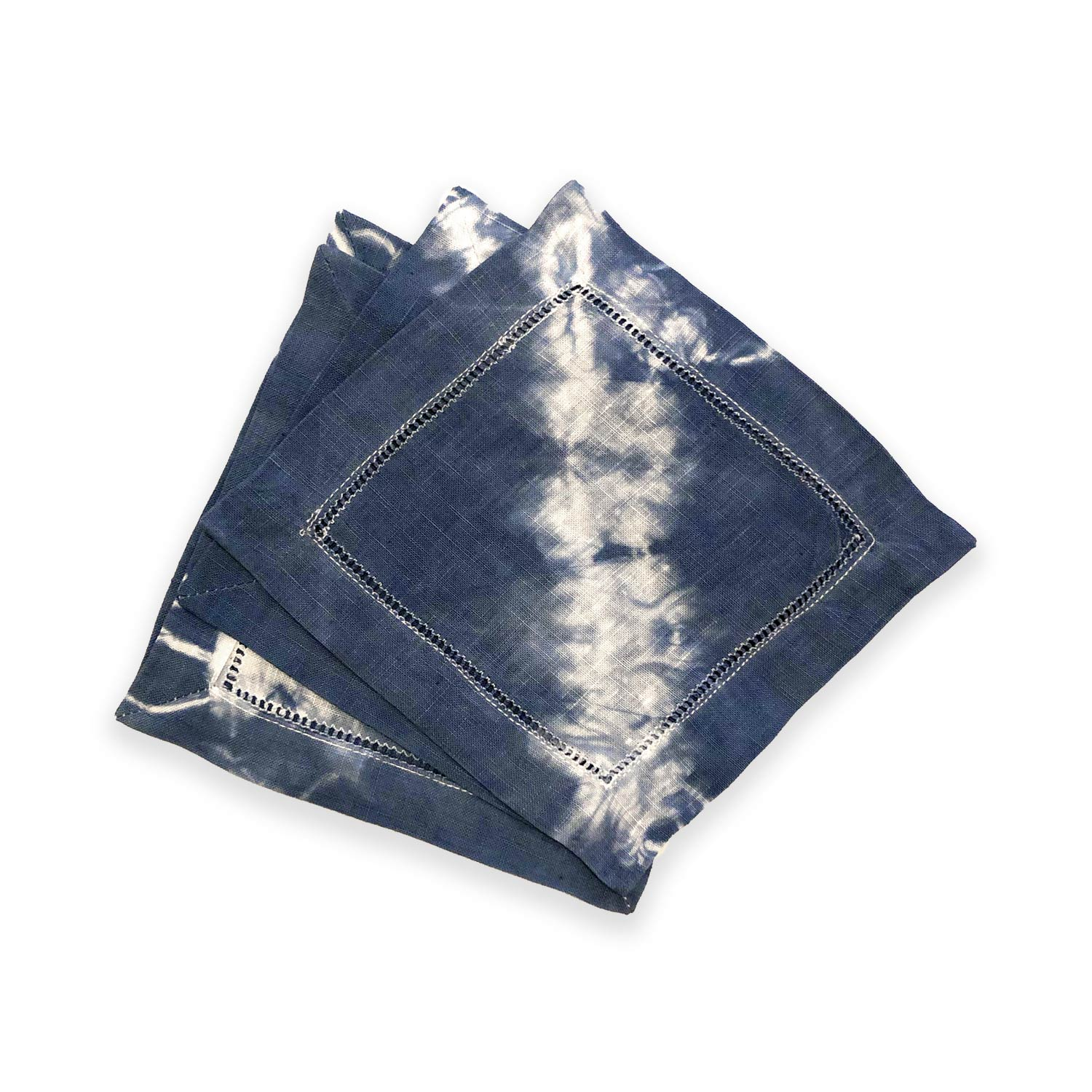 Hand-dyed Dark Blue Shibori Cocktail Napkins (Set of 6)