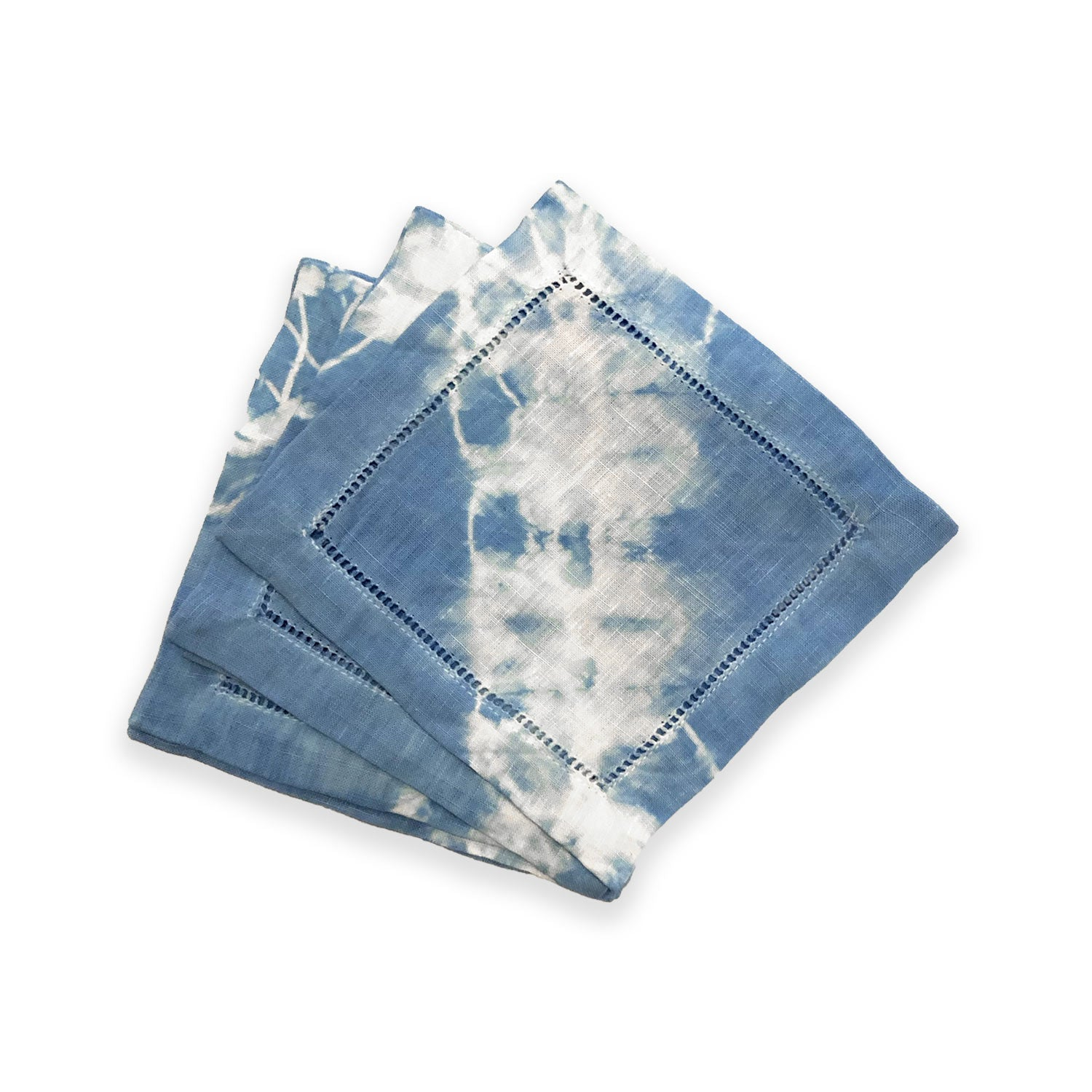 Hand-dyed Light Blue Shibori Cocktail Napkins (Set of 6)
