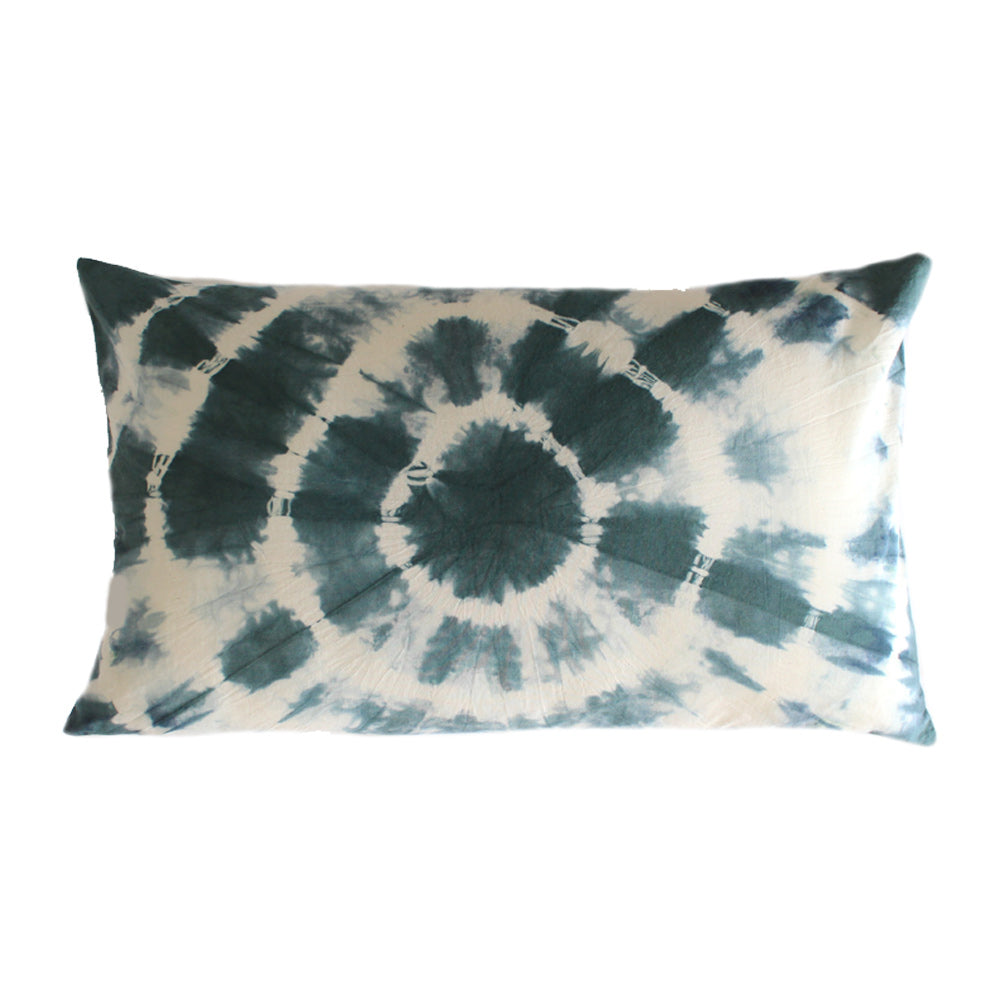 "Hand-dyed Green Shibori 12x20"" Lumbar Pillow Cover"