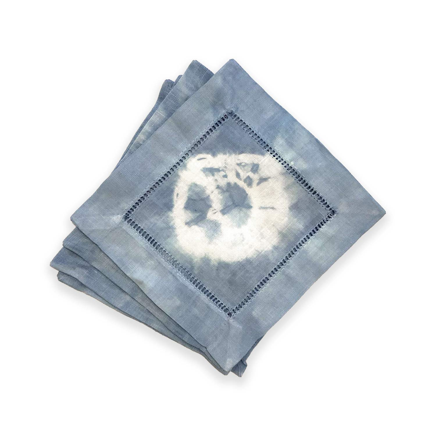Hand-dyed Light Blue Shibori Cocktail Napkins (Set of 4)