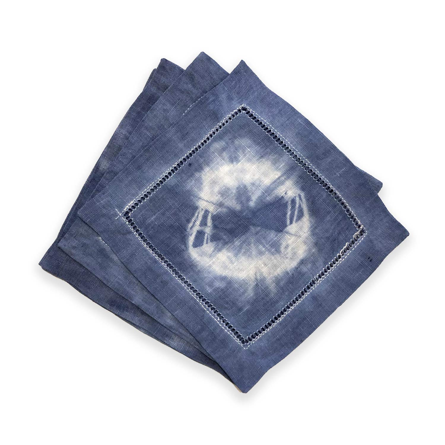 Hand-Dyed Dark Blue Shibori Cocktail Napkins (Set of 4)