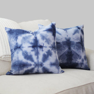 "Hand-dyed Indigo Blue Shibori 20x20"" Pillow Cover Set (2)"